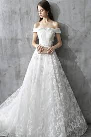 simple lace wedding dresses simple word shoulder wwist lace wedding dress nbadresses