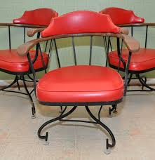 Wrought Iron Swivel Patio Chairs by Three Vintage Red Vinyl U0026 Wrought Iron Swivel Barrel Chairs Ebth