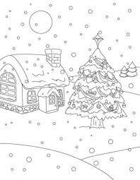 christmas tree on snow at christmas night christmas coloring page