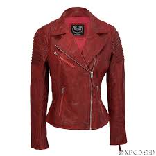 womens vintage slim fitted soft real leather ladies biker jacket