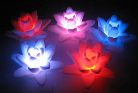 artificial lotus flower led light water actived light up