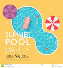 summer pool party invitation flyer or banner template flat des