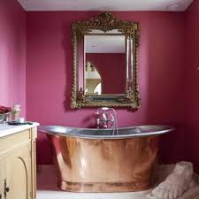 Copper Wall Decor by Bathroom With Pink Walls And Copper Freestanding Tub Also Ornate