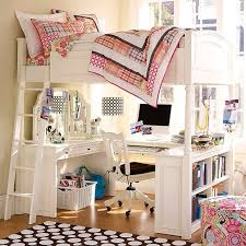 girls loft bed with a desk and vanity white loft bed with desk vanity bookshelves ladder dormitorios