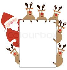 santa claus and reindeer present christmas card vector stock