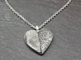Customized Heart Necklace Customized Pet Paw Pad U0026 Fingerprint Heart Necklace Fine Silver