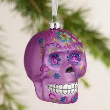 glass skull ornaments set of 3 world market