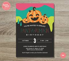 halloween invitation pictures pumpkin painting birthday invitation 5x7 fun halloween