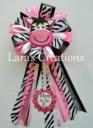 zebra baby shower baby shower corsage solid pink black and zebra print ribbon