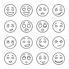 halloween black and white background set of emotional faces on a white background stock vector art