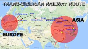 Map Of Russia And China by Trans Siberian Line