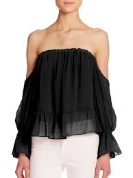 the shoulder black blouse lyst t bags the shoulder ruffled sleeve blouse in black