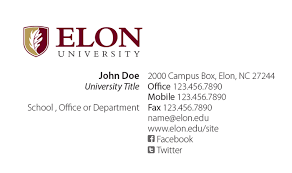 elon faculty staff business cards