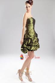 olive green short bridesmaid dress strapless olive green prom