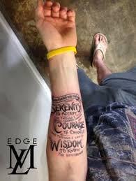 scroll shaded serenity prayer guys upper chest tattoo ideas
