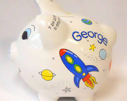 personalized silver piggy bank rocket bank etsy