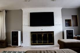 white fireplace surround with shelf and television above combined