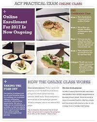 5 hours class online acf practical online class on site culinary