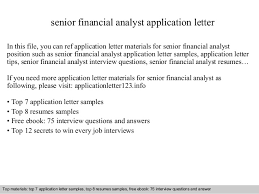 Senior Financial Analyst Sample Resume by Senior Financial Analyst Application Letter