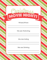 Christmas Carols Invitation Cards How To Plan A Christmas Movie Night With Free Printables