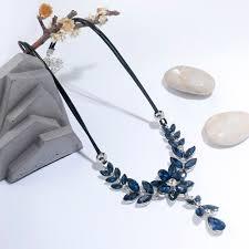 leather flower necklace images Meyfflin blue crystal choker necklaces for women vintage pu jpg