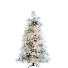 7 5 ft flocked snowy pine tree with clear led lighting
