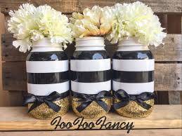 black white and gold mason jar centerpieces party by foofoofancy