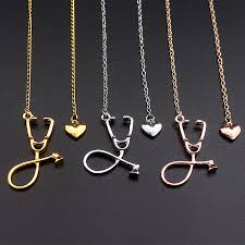 rose gold colour necklace images 3 colour new stethoscope charm necklaces heart and stethoscope jpg