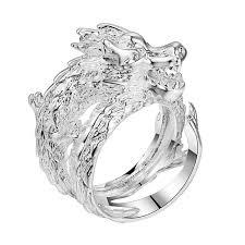 perkasa naga pria hot perak disepuh cincin fashion perhiasan cincin