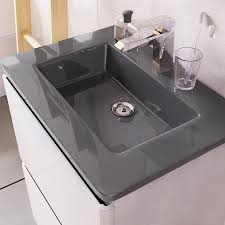 600 Vanity Unit Erin Floor Standing 600 Vanity Unit White Gloss U0026 Grey Glass Basin