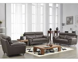 Modern Gray Leather Sofa Modern Leather Sofa Set In Grey Color Esf8049set