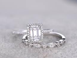 engagement jewelry sets radiant cut moissanite engagement rings sets diamond matching band