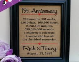 wedding anniversary gifts for him 19th anniversary etsy