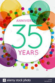 35 year anniversary template 35 years anniversary congratulations greeting card stock