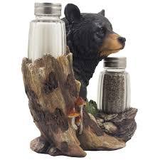 Cabin Kitchen Decor Amazon Com Black Bear Glass Salt And Pepper Shaker Set Sculpture