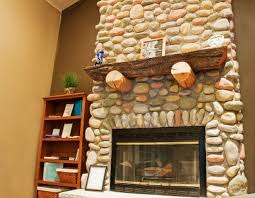 interior rock wall design rukle stacked river fireplace with