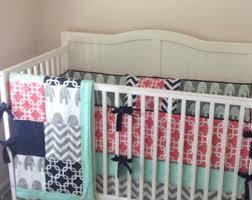 Navy And Coral Crib Bedding Coral Crib Bedding Etsy