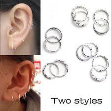 silver sleeper earrings hight quality 925 silver sleeper small earrings 3 size