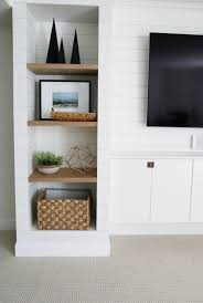 Built In Cabinets Living Room by Diy Shiplapped Built Ins Finished And Styled Chris Loves Julia