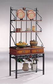 Bakers Rack Shelves Coaster Brown Sandy Black Finish Metal U0026 Wood Baker U0027s Kitchen Rack