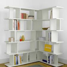 furniture alluring white corner bookshelf for chic home also