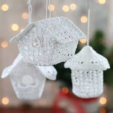 white iridescent crocheted birdhouse ornament birds