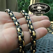 stainless steel byzantine necklace images Black gold stainless steel byzantine chain bracelet 822 png