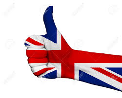 hand with thumb up painted in colors of great britain flag