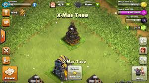 in clash of clans what do i get for christmas tree removal