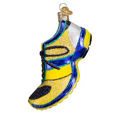 world ornaments running shoe glass ornament 32200