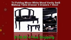 Sei Mirrored Vanity Tri Folding Mirror White Wood Vanity Set Makeup Table Dresser 4