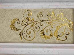 Stone And Gold Glass Mosaic Art Design For Wall Decoration - Wall mosaic designs