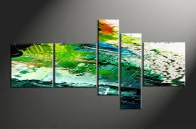 Home Artwork Decor 5 Piece Green Abstract Oil Paintings Group Canvas