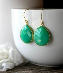 emerald drop medium chrysoprase green chalcedony drop earrings emerald green